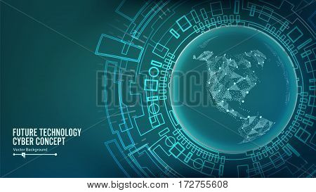 Futuristic Technology Connection Structure. Vector Abstract Cyberspace Background. Future Concept