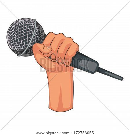Hand holding microphone icon. Cartoon illustration of hand holding microphone vector icon for web