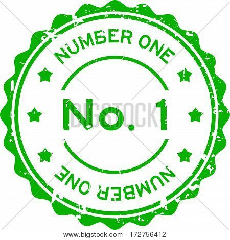 Grunge green No. 1 (number one) round rubber seal stamp on white background
