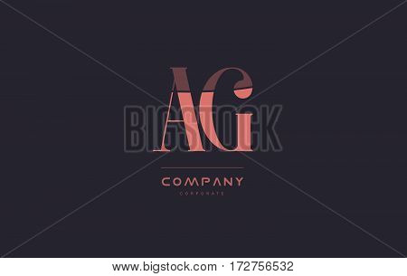 Ag A G Pink Vintage Retro Letter Company Logo Icon Design