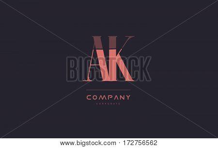 Ak A K Pink Vintage Retro Letter Company Logo Icon Design