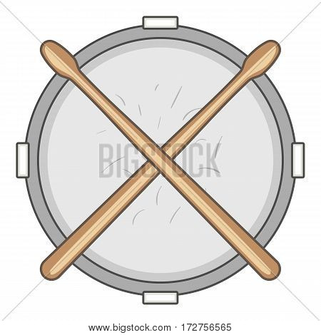 Drum and drumsticks icon. Cartoon illustration of drum and drumsticks vector icon for web