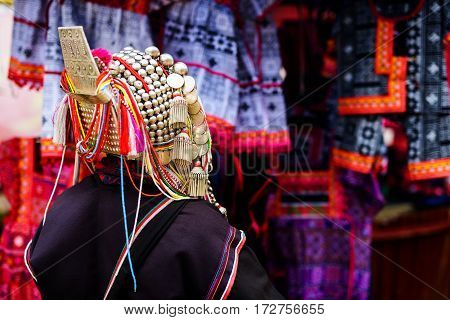Akha tribe woman with traiditional dress and decoration