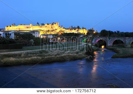 Carcassonne, France - 28 June 2012: The fort of Carcassonne by night