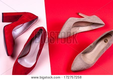 Fashion. Red and pastel female high-heeled shoes. Stylish Trendy heels Summer fashion girl Outfit Luxury Party shoes accessories. Hipster Essentials. Minimal fashion concept
