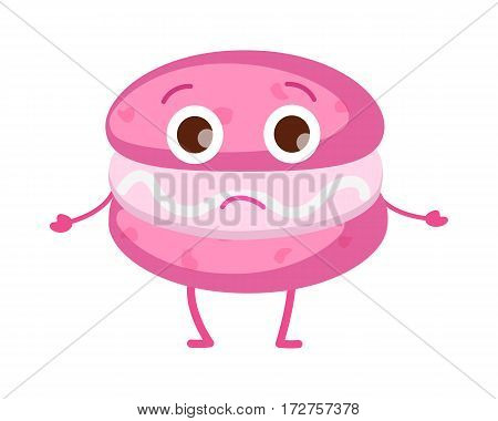 Pink unhappy macaroon with eyes, thin arms and legs. Isolated sweets icon. Tiered disappointed cake with light stuffing. Fresh confectionery. Simple cartoon style. Flat design. Vector illustration