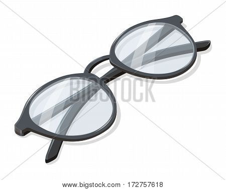 Folded glasses vector icon in isometric projection. Classic round eyeglasses illustration. Fashion, medical, style accessory. Optical instrument for good eyesight. Isolated on white background