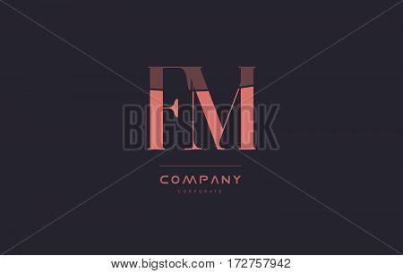 Fm F M Pink Vintage Retro Letter Company Logo Icon Design