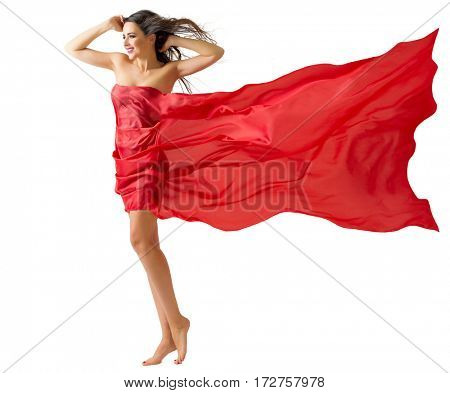 Young woman on the wind isolated