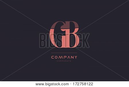 Gb G B Pink Vintage Retro Letter Company Logo Icon Design