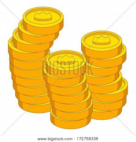 Stacks of coins with crown icon. Cartoon illustration of stacks of coins with crown vector icon for web