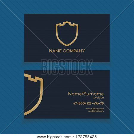Shield, guard, protection, safe and security card with gold logo for your business. Vector Illustration