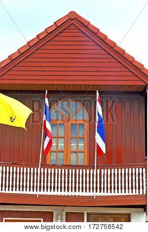Temple   Bangkok Thailand Incision   Waving Flag