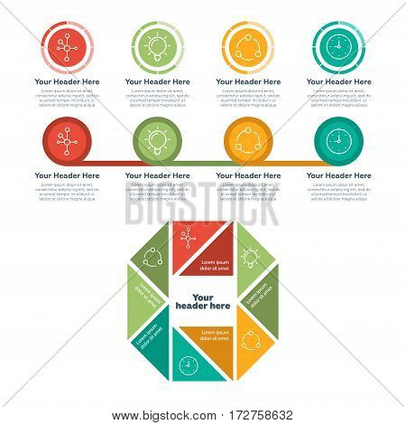 Infographic elements. Features and steps vector illustration