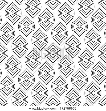 Abstract geometric black and white minimalistic background with stylized leaves