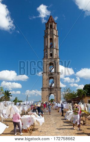 Manaca Iznaga Cuba - January 292017: Typical Cuban market near the Manaca Iznaga old slavery tower near Trinidad Cuba. The Manaca Iznaga Tower is the tallest lookout tower ever built in the Caribbean sugar region.