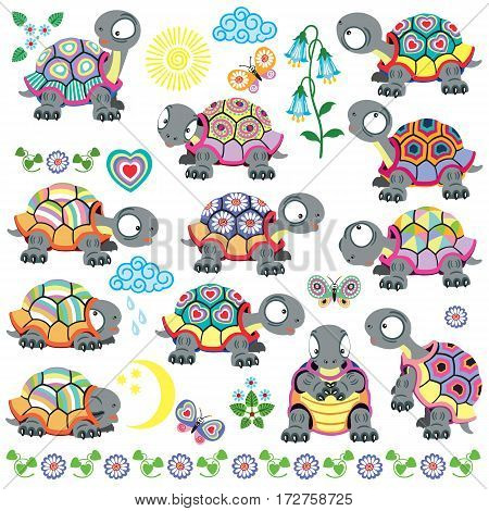 cartoon set of decorative tortoise for babies and little kids . Vector isolated on white