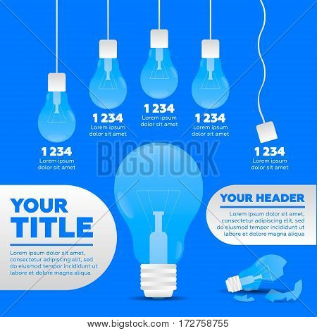 Infographics elements. 5 steps and broken lamp
