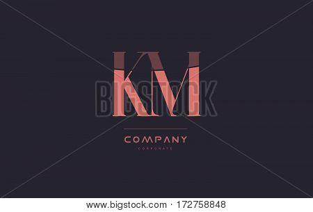 Km K M Pink Vintage Retro Letter Company Logo Icon Design