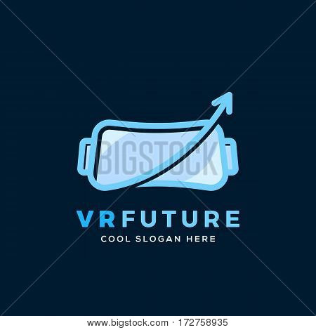 Virtual Reality Future Abstract Vector Sign, Symbol or Logo Template with Typography. Flat Outline Style. On Dark Blue Background.