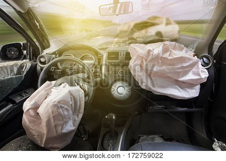 Car Of Accident Make Airbag Explosion Damaged.