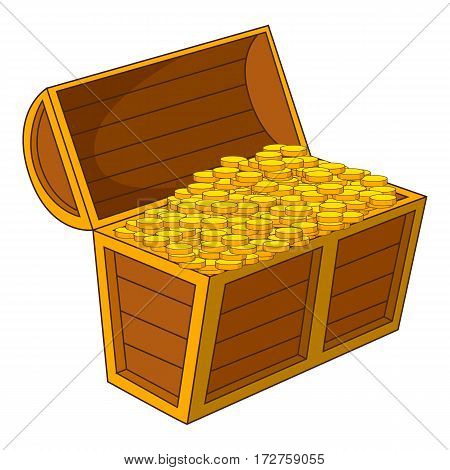 Pirate treasure chest with golden coins icon. Cartoon illustration of pirate treasure chest with golden coins vector icon for web
