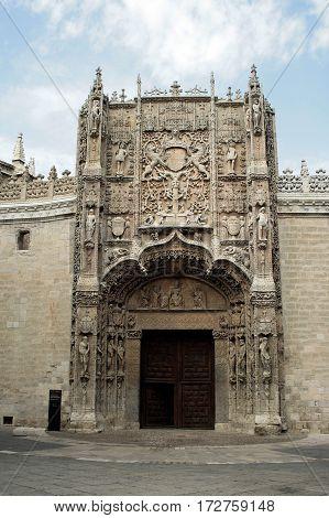 Facade of San Gregorio School of the 15th century in Valladolid, Castilla y Leon, Spain
