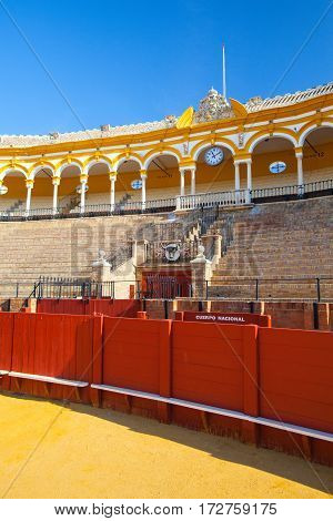 Seville Spain - November 19 2016: Bullfight arena plaza de toros at Sevilla.During the annual Seville Fair in Seville it is the site of one of the most well known bullfighting festivals in the world.
