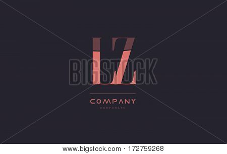 Lz L Z Pink Vintage Retro Letter Company Logo Icon Design