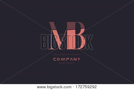 Mb M B Pink Vintage Retro Letter Company Logo Icon Design