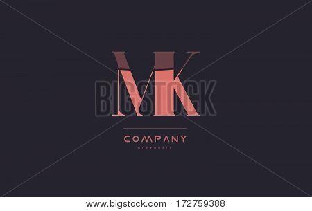 Mk M K Pink Vintage Retro Letter Company Logo Icon Design