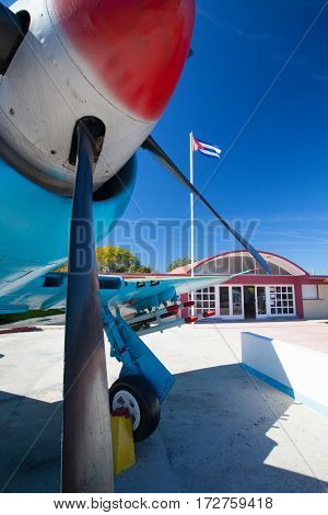 Playa Giron Cuba - January 272017: The Bay of Pigs Museum.Aircraft in front of the museum dedicated to the failed 1961 invasion.
