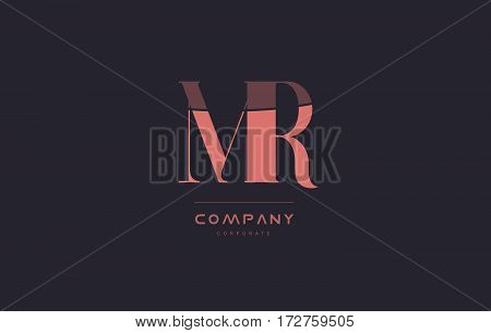 Mr M R Pink Vintage Retro Letter Company Logo Icon Design