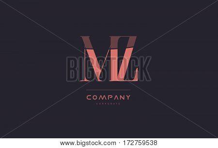 Mz M Z Pink Vintage Retro Letter Company Logo Icon Design