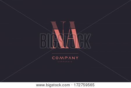 Na N A Pink Vintage Retro Letter Company Logo Icon Design