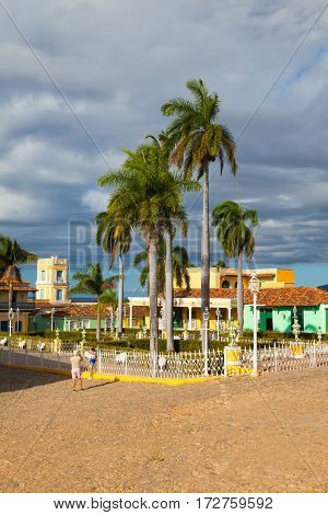 Plaza Mayor -Principal square of Trinidad. One of UNESCOs World Heritage sites since 1988. Sancti Spiritus Province Cuba.