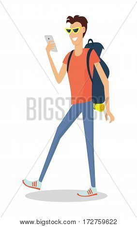 Hiking with backpack illustration. Summer vacation in journey concept. Smiling young man in sunglasses with phone and  backpack full of supplies making photos flat vector isolated on white background