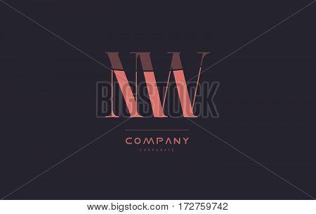 Nw N W Pink Vintage Retro Letter Company Logo Icon Design