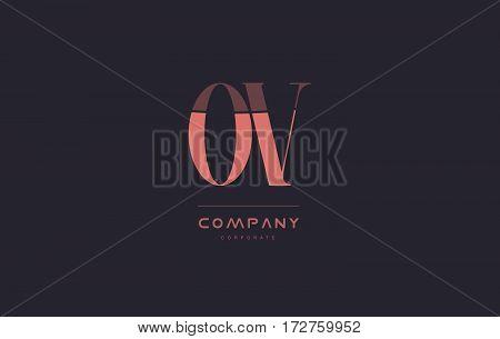 Ov O V Pink Vintage Retro Letter Company Logo Icon Design