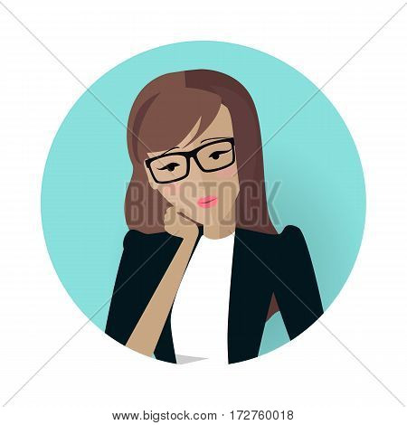 Userpic of a business lady. Woman at work icon symbol sign. Different female faces in circles. Girls user pics set. Avatar collection. Flat style. Part of series of daily routine of the week. Vector