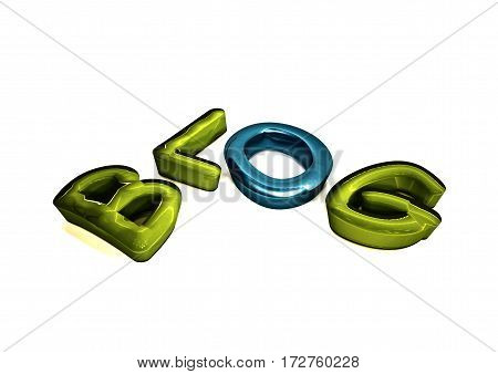 Glossy three-dimensional inscription Blog on dimensional background. 3D illustration.