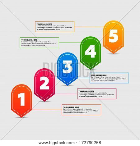 Infographics elements. Five steps process vector illustration