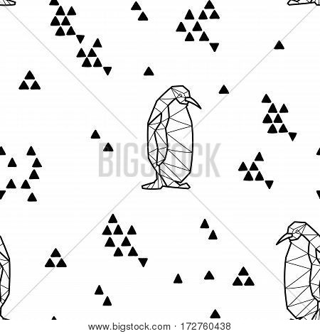 Seamless black and white kids tribal pattern with penguins and triangles. Vector illustration.