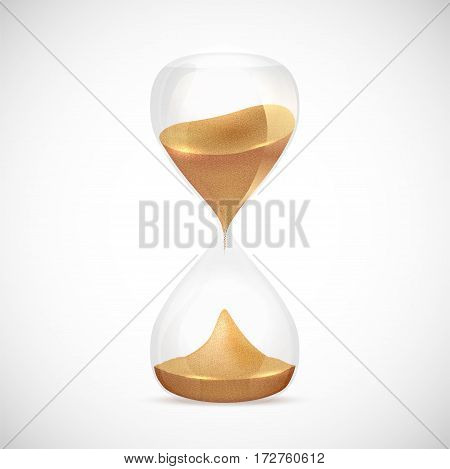 Shiny transparent sandglass on gray background - vector illustration