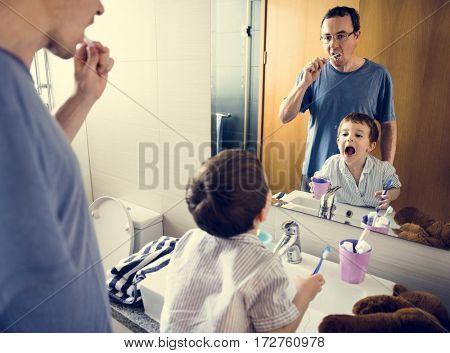 Dad Son Toothbrush Morning Lifestyle