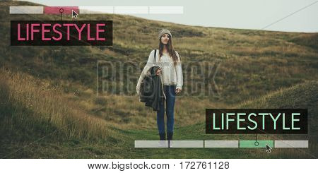 Girl standing on the hill for leisure