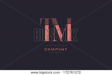 Tm T M Pink Vintage Retro Letter Company Logo Icon Design