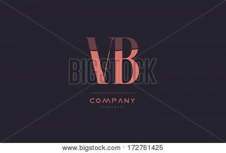 Vb V B Pink Vintage Retro Letter Company Logo Icon Design