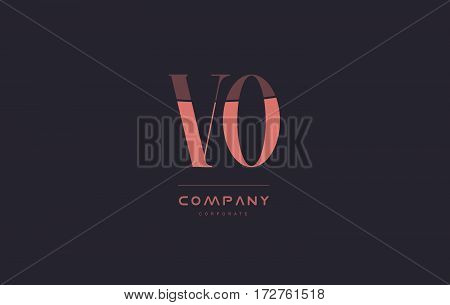 Vo V O Pink Vintage Retro Letter Company Logo Icon Design