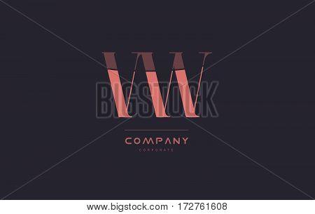 Vw V W Pink Vintage Retro Letter Company Logo Icon Design